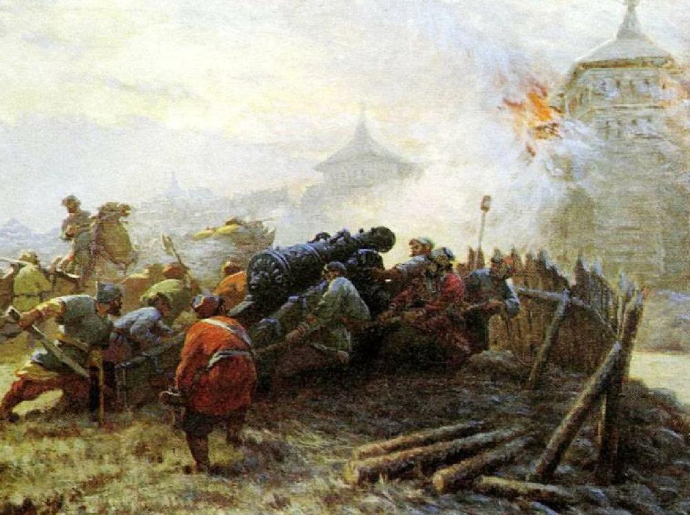 Русские артиллеристы во время осады Казани.