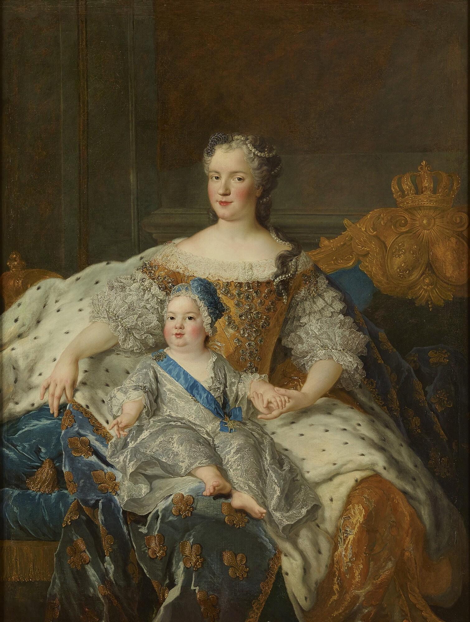 Королева Мария Лещинская с сыном. <br>