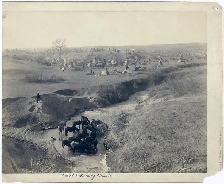 Вид на лагерь сиу в&nbsp;резервации Пайн-Ридж, 1891. <br>