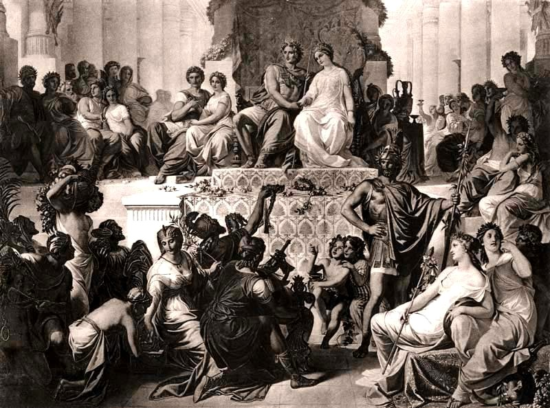 Свадьба в Сузах. Гефестион иДрипетида поправую руку отАлександра.