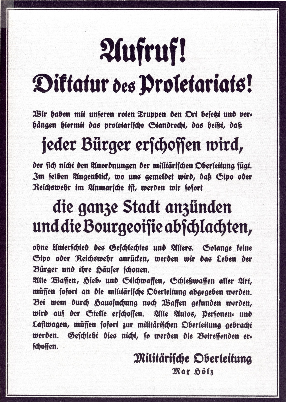 Воззвание к пролетариям Макса Гёльца.