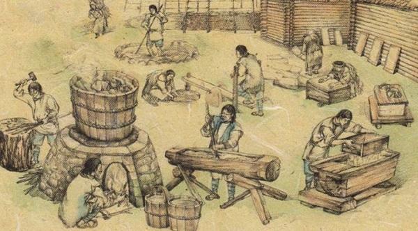 Процесс производства бумаги, который придумал Цай Лунь.