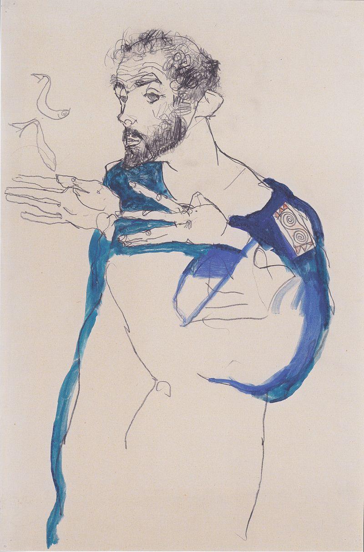 ФОТО Портрет Климта кисти Эгона Шиле, 1913.jpeg