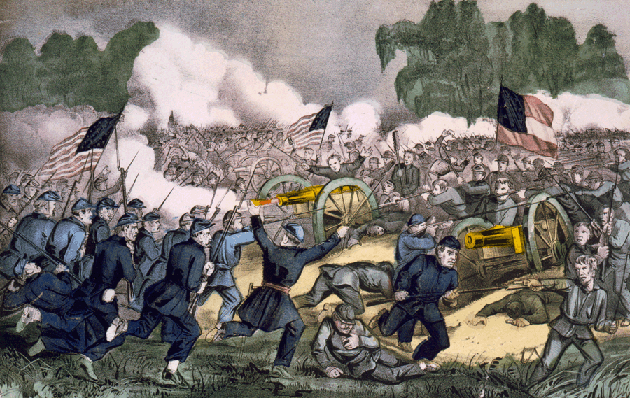 a description of the men losing blood in the battle at gettysburg
