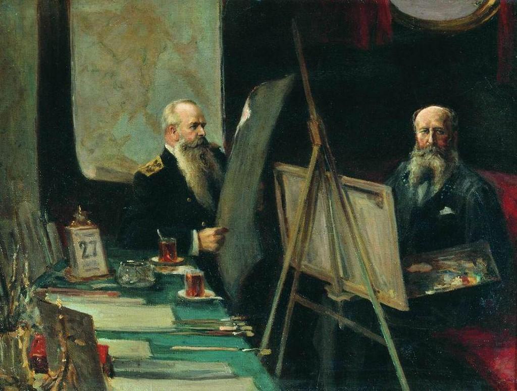 ФОТО 3 _Вице-адмирал С.О. Макаров и художник-баталист В.В. Верещагин в каюте_ Е.Столица 1904.jpg
