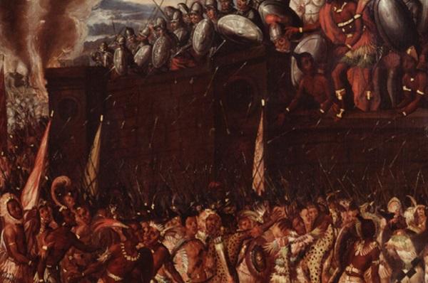 Штурм испанской резиденции и смерть Мотекусомы.