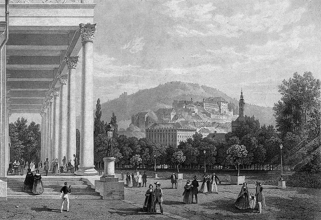 Баден-Баден на гравюре 19 века.