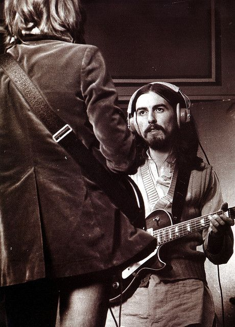 George Harrison with Eric Clapton at Olympic Studios in London 1969.jpg