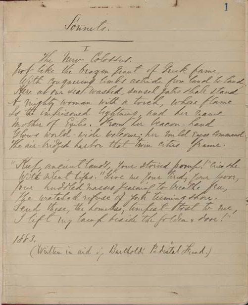 Сонет «Новый Колосс» Эммы Лазарус, 1883 год.jpg