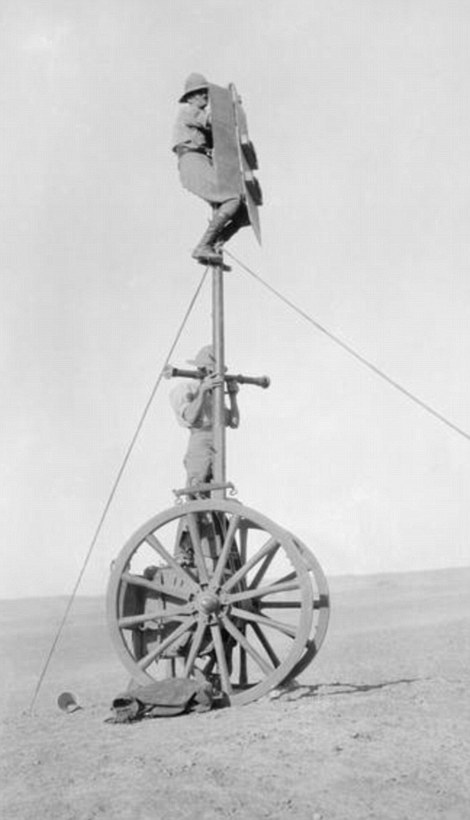 5 Royal Artillery reconnaissance in Mesopotamia using the limber pole ladder. Even modest extra elevation could make a difference in flat desert warfare.jpg