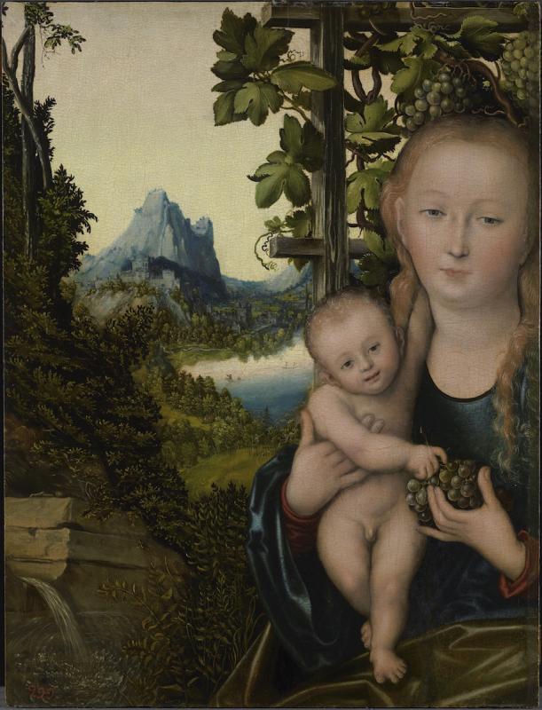 Лукас Кранах Старшии. Мадонна с младенцем (Мадонна в винограднике).jpg