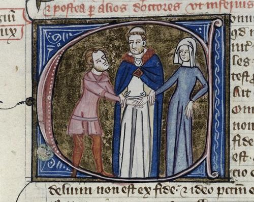 """Венчание. Изображение с сайта medievalists.net. Выражение лица священника: """"То есть опять начинаем - """"я подумаю, я еще не решил""""? Пятый раз заявление подаете! А ну, не дергайся и повторяй за мной: """"Беру эту женщину в законные жены..."""" У меня обеденный перерыв через пять минут!"""""""
