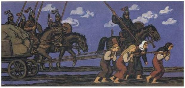 Авары и подчинённое население [предположительно, славяне].