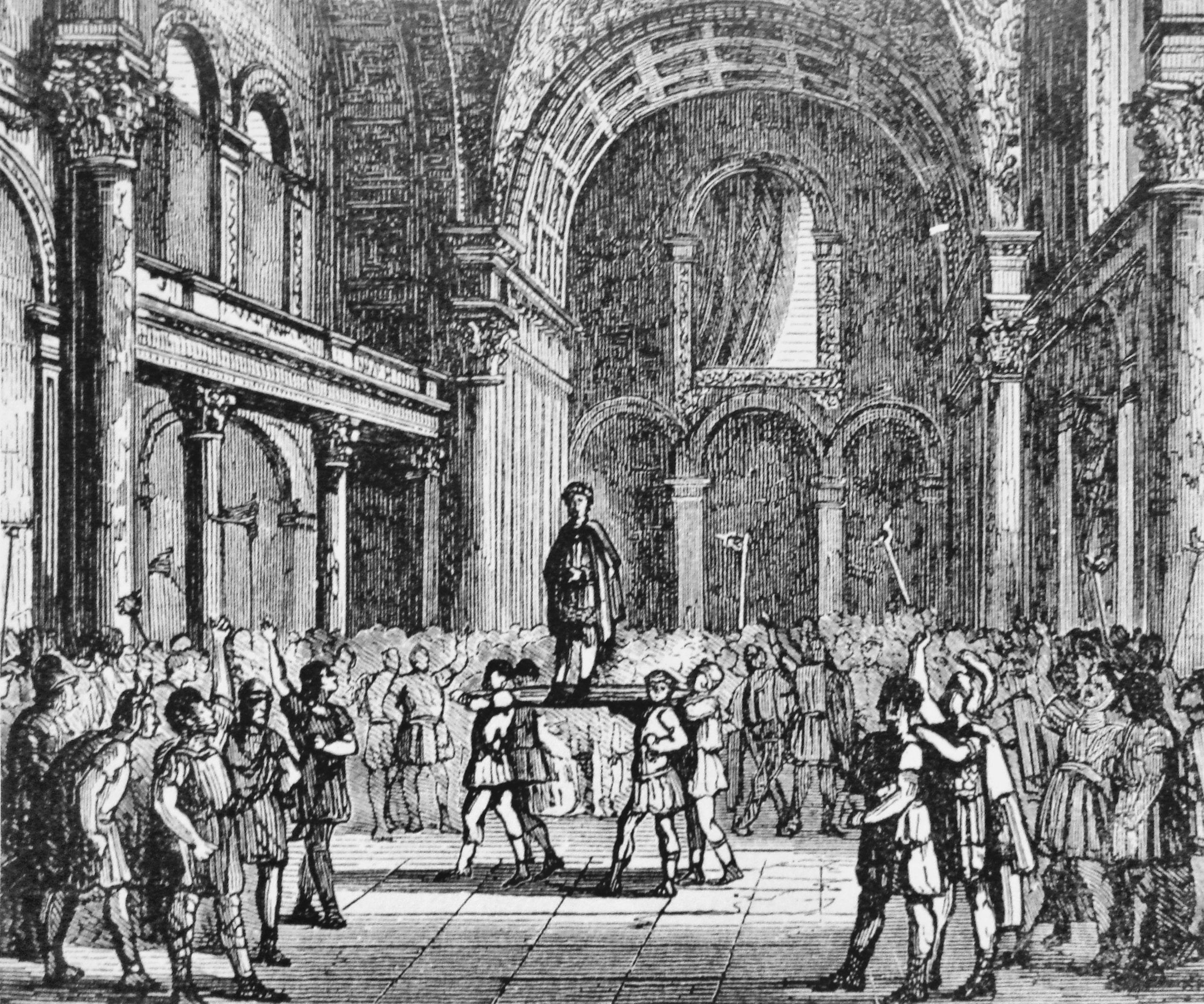 Легионеры провозглашают Юлиана императором. <br>