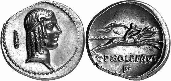 Гай Кальпурний Пизон на античной монете.