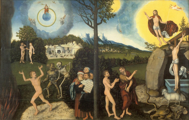 7 Грехопадение изгнание из рая и искупительная жертва Христа 1529.jpg