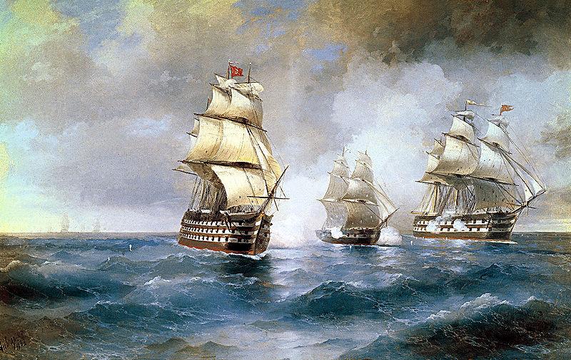 Иван Айвазовский. Бриг «Меркурий», атакованный двумя турецкими кораблями. 1892.jpg