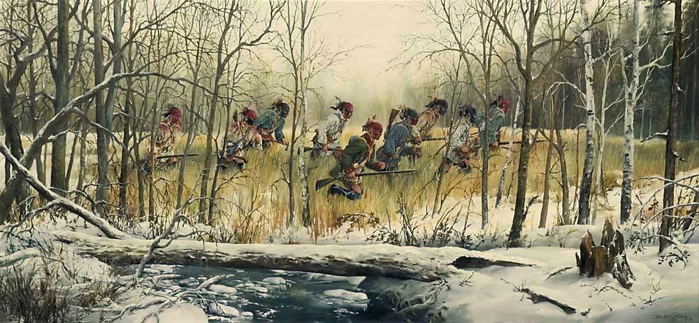 Передвижение воинов майами по лесу.