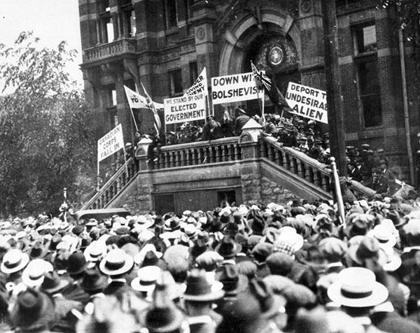 Ассоциация ветеранов, Виннипег, возле здания ратуши, 4 июня 1919г.