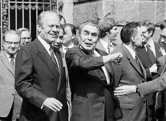 Джеральд Форд и Леонид Брежнев вБухаресте в1978г.