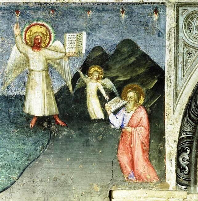 Джусто де Менабуои. Святой Иоанн съедает книгу, 1360−1370, фреска баптистерия собора Падуи.
