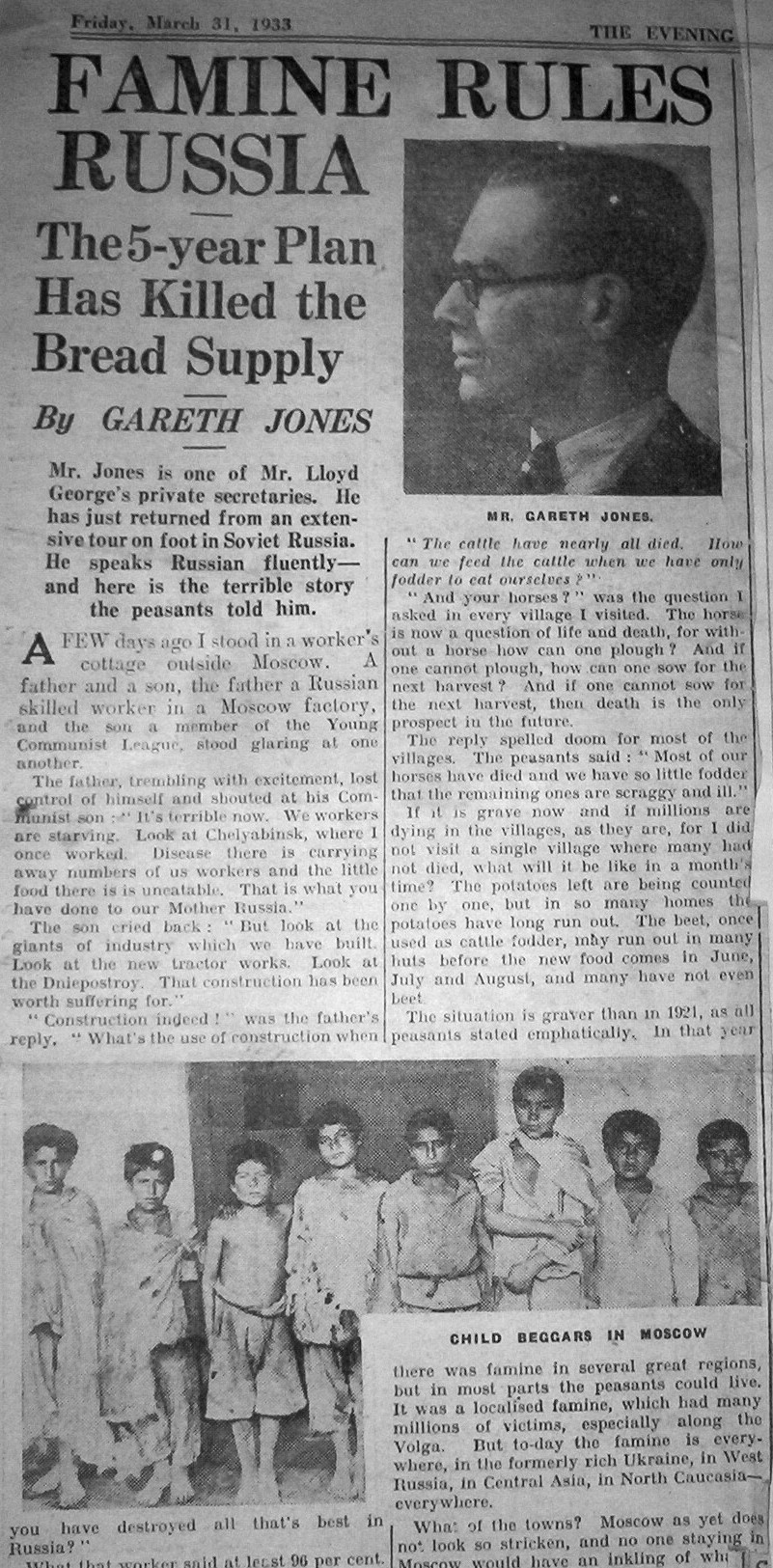 Одна из публикаций Г.&nbsp;Джонса о&nbsp;голоде. <br>