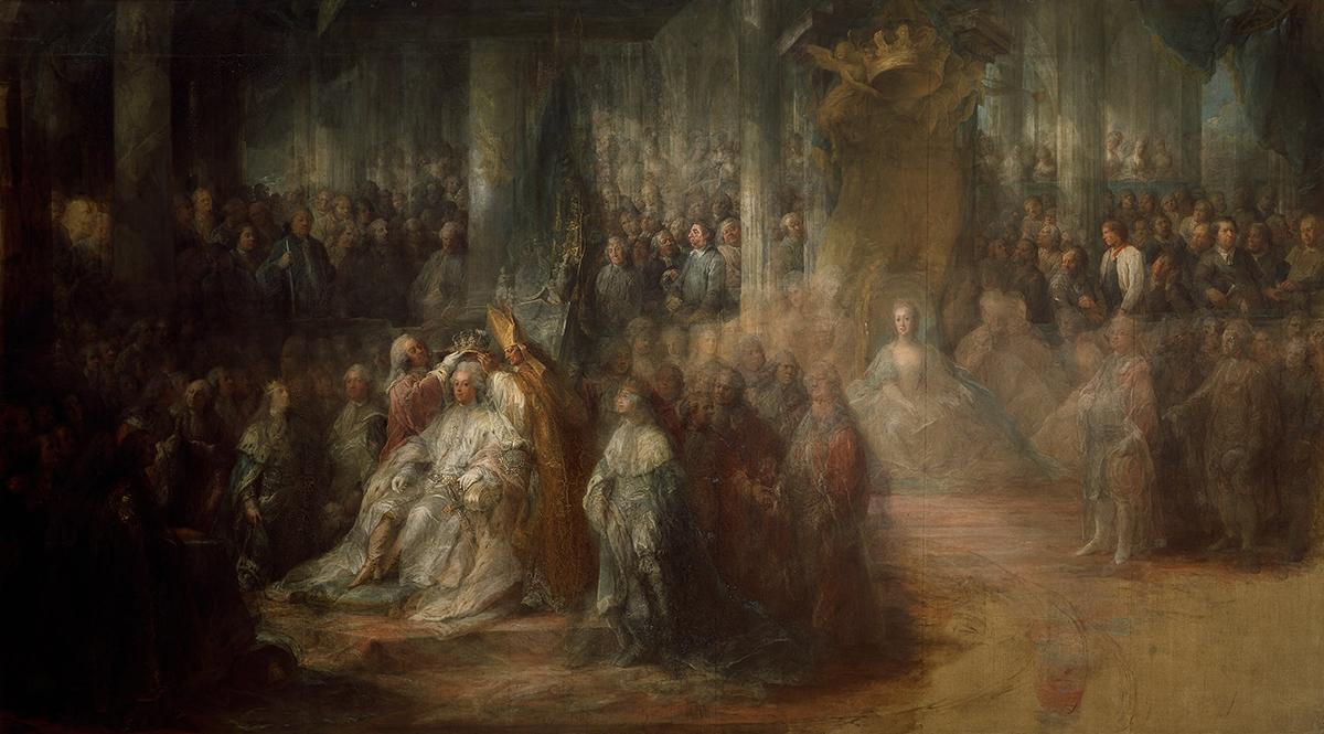 Коронация Густава III, неоконченная картина Карла Густава Пило. <br>