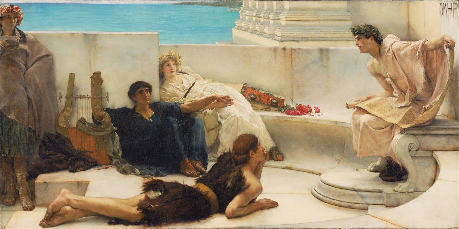 Лоренс Альма-Тадема. «Чтение Гомера», 1885 г.
