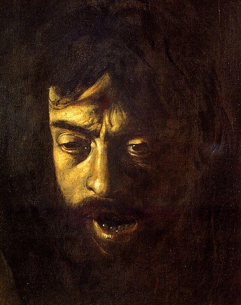 Фрагмент картины «Давид с головой Голиафа» (1607-1610). В образе Голиафа художник изобразил себя