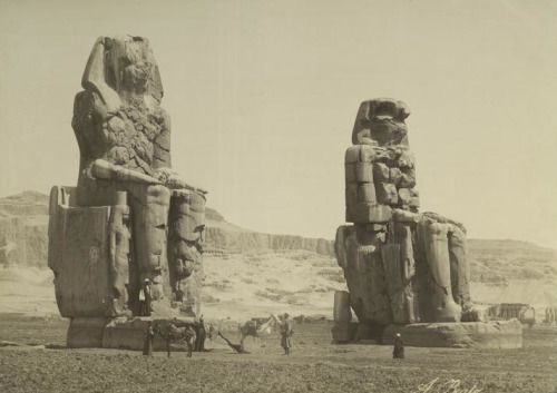 12 Colossi of Memnon Thebes Egypt 1860s.jpg