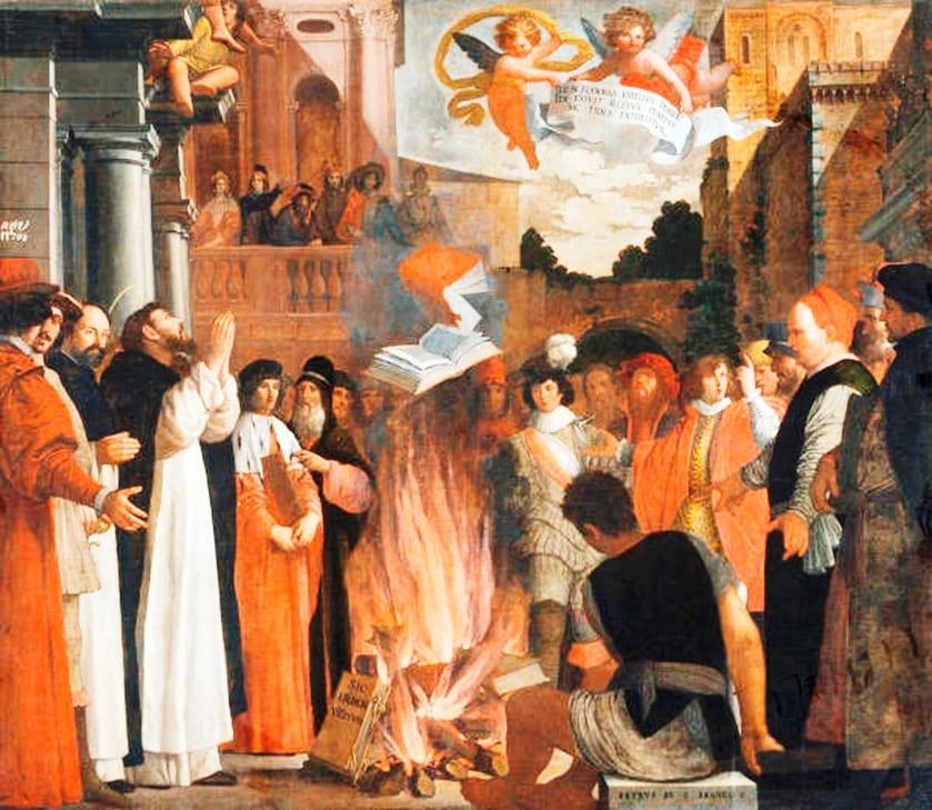 Пьетро Дамини. Святой Доминик сжигает книги еретиков, начало 17-го века