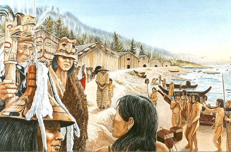 Поселение индейцев.