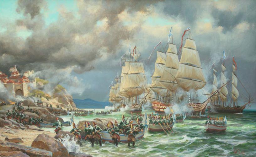 Высадка десанта у Корфу.