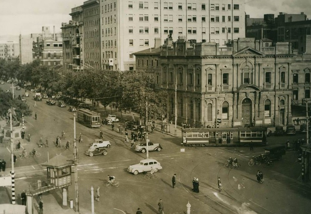 Intersection of North Terrace and King William Street viewed from Parliament House, 1938..jpg