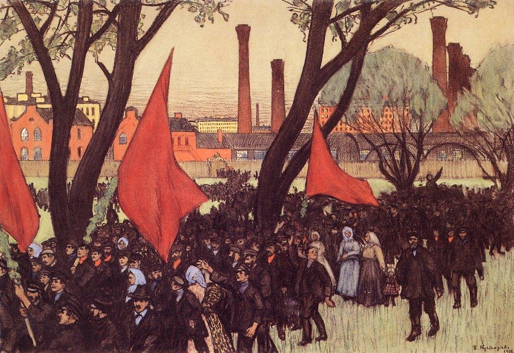 Кустодиев. Первомайская демонстрация у Путиловского завода. <br>