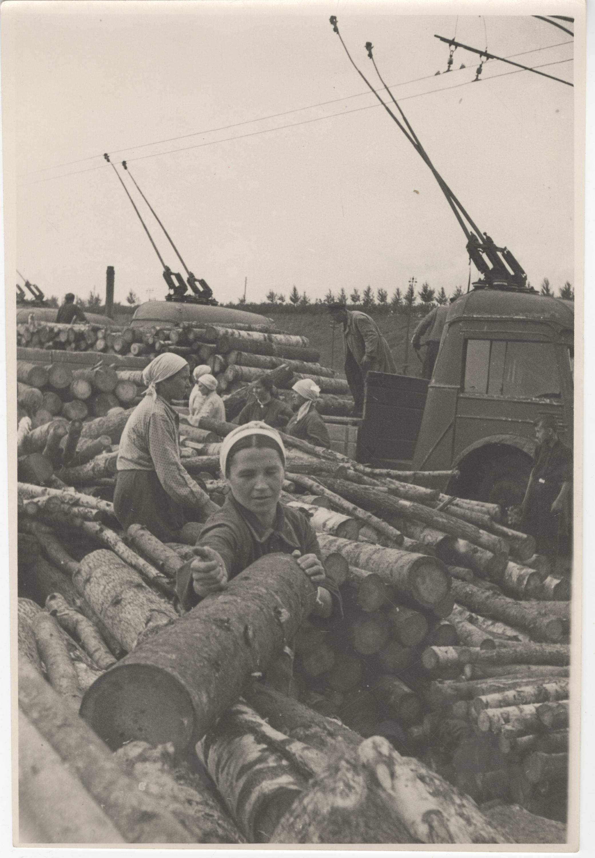Жители Ленинградского района на грузовом участке Северного порта грузят дрова натроллейвозы, 1943г.