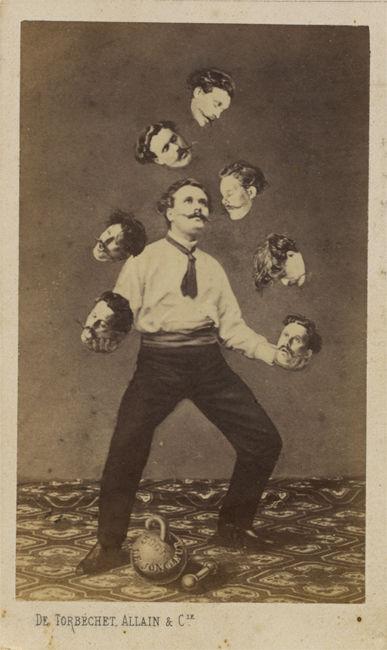 Неизвестный автор «Мужчина, жонглирующий своей головой», ок. 1880.