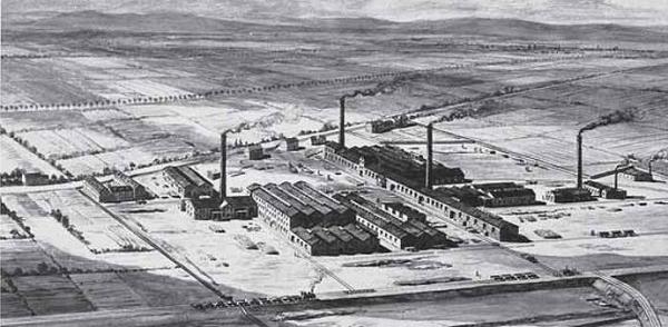 Завод BASF в Людвигсхафене впервые годы существования.