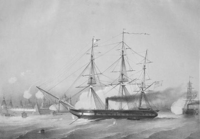 фото 4 Мюнстер А. Э. Бомбардирование Соловецкого монастыря двумя Англиискими пароходами 6-го и 7-го июля 1854 года.jpg