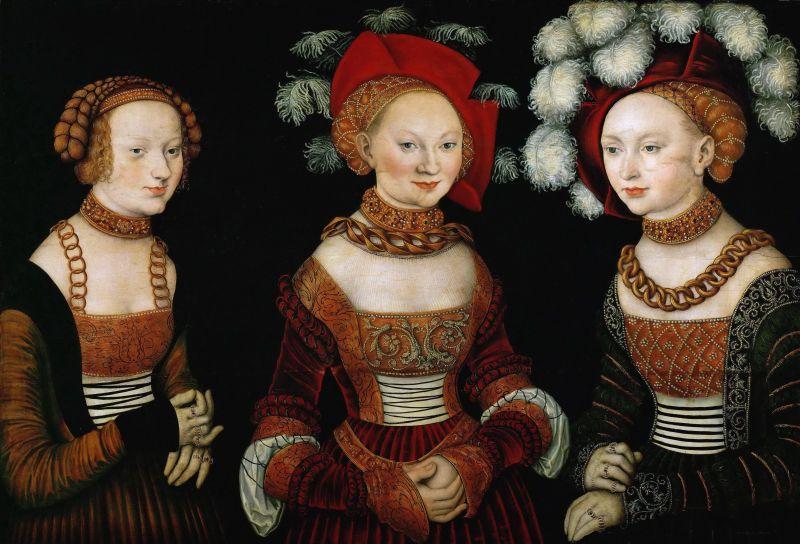 27 Лукас Кранах Старшии Портрет Саксонских принцесс Сидонии Амелии и Сибиллы.jpeg
