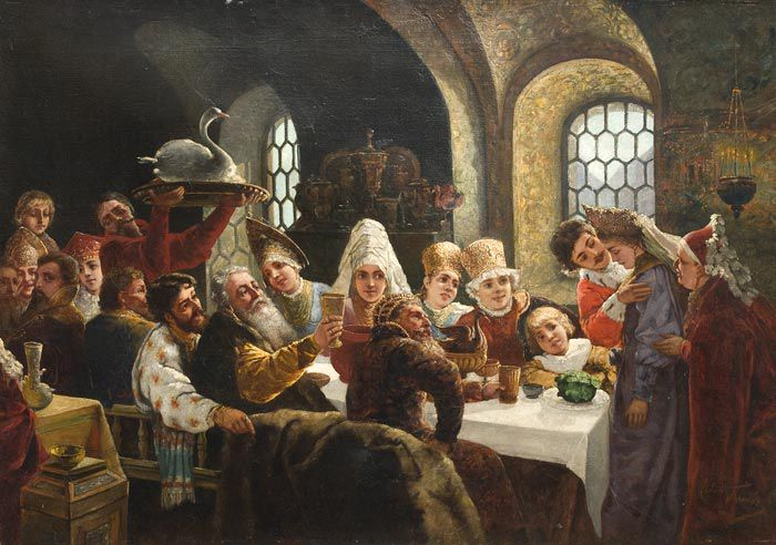 Боярский свадебный пир в XVII в., худ. К. Маковский.