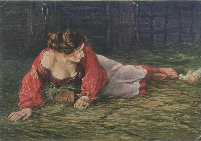 Крепостная актриса в опале, кормящая грудью барского щенка. Худ. Н. А. Касаткин, 1910.