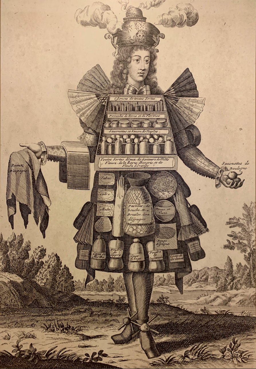 Карикатура на парфюмера изкниги «Les costumes grotesque etles metiers», 1695.