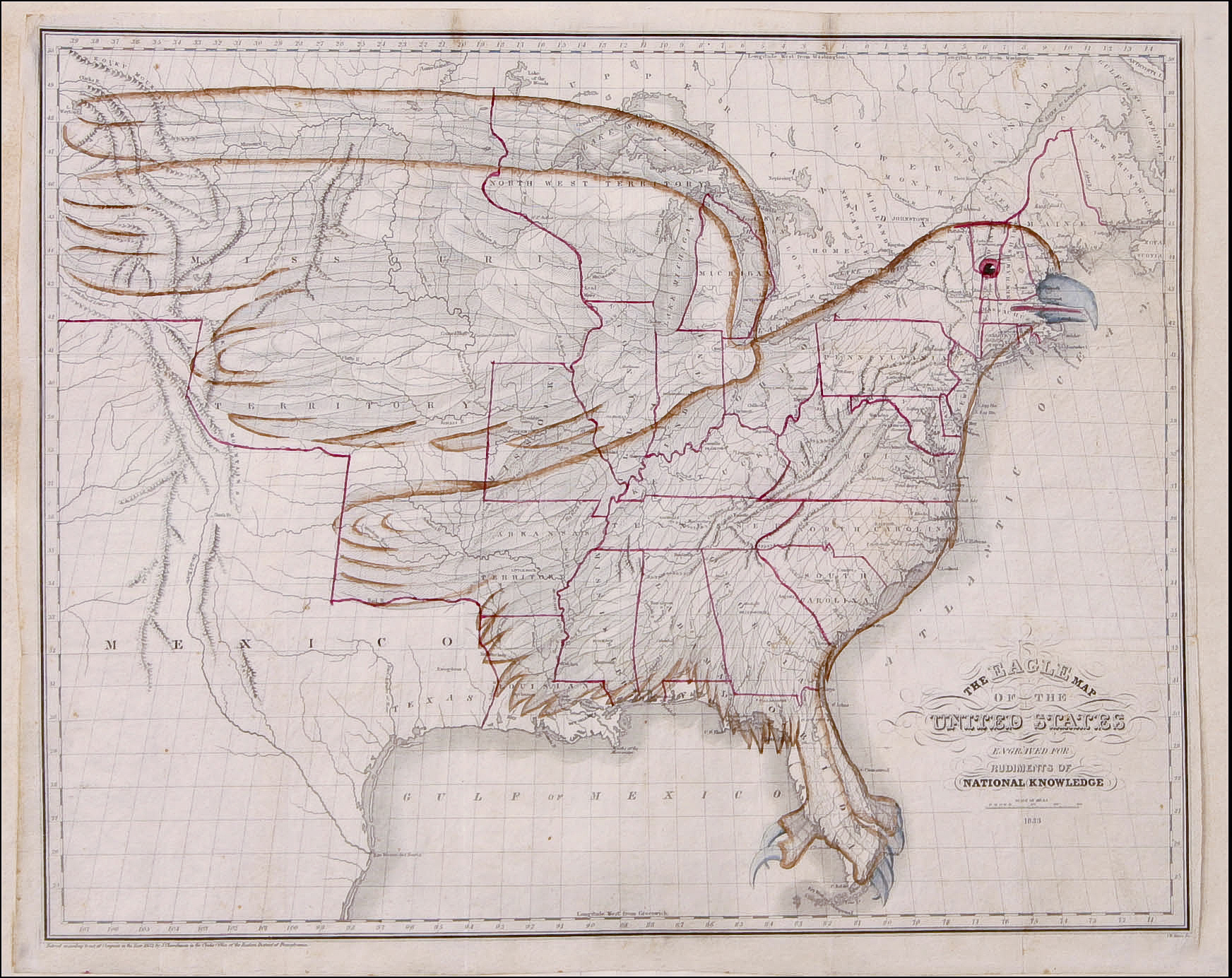 An 1833 map of the United States in the shape of an eagle.JPG