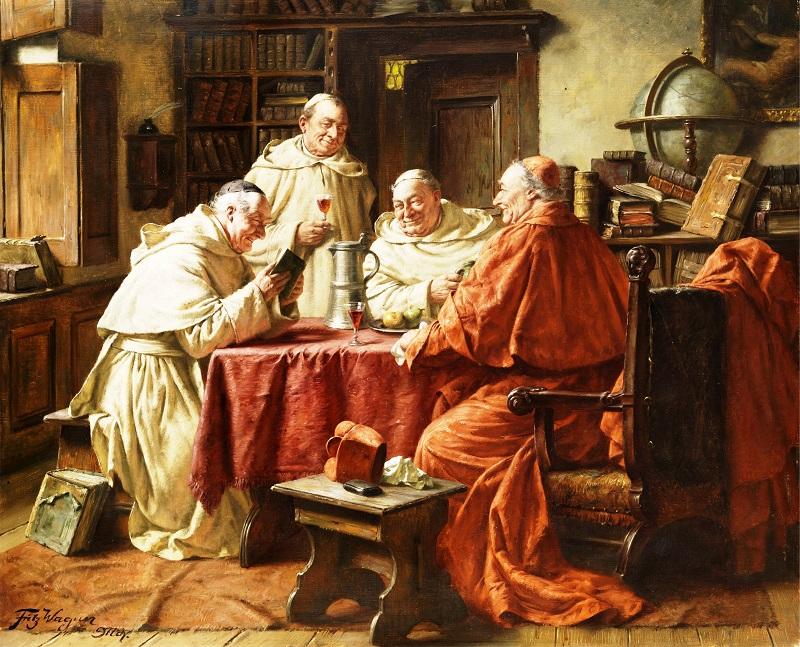 Фриц Вагнер. Кардинал с монахами вмонастырской библиотеке, ок. 1939.