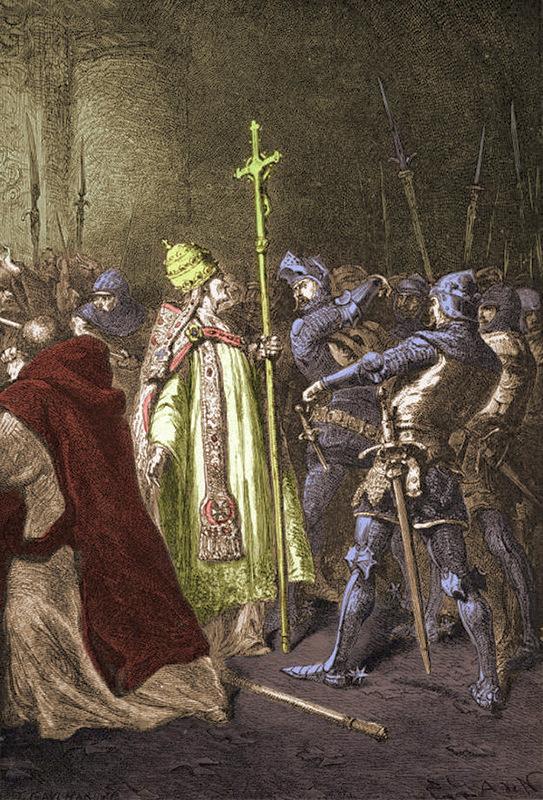 А.де Невиль. Чиарра Колонна дает пощечину Бонифацию VIII