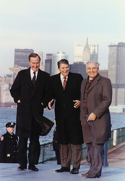 President Reagan Vice-President Bush meet with Soviet General Secretary Gorbachev on Governors Island New York 1988.jpg