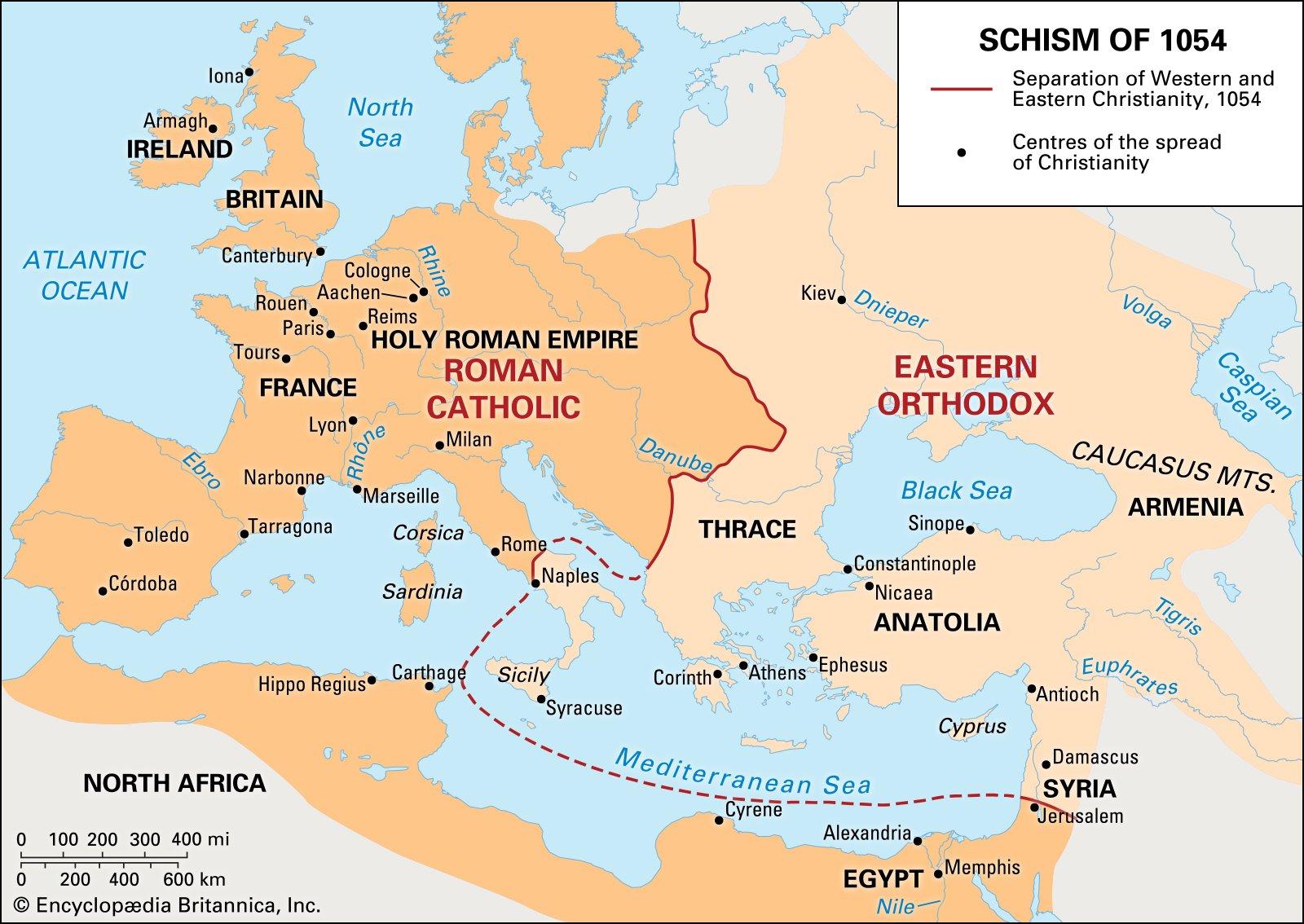 Карта разделения церквей. <br>