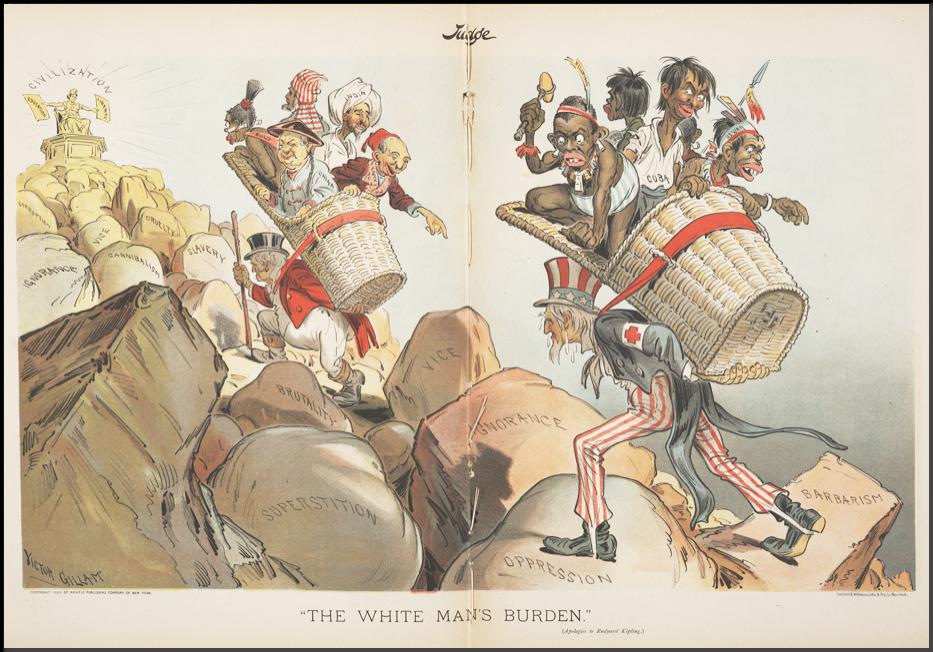 Джон Булль и Дядя Сэм тащать «бремя белого человека» — несут самых разных неевропейцев к цивилизации.png