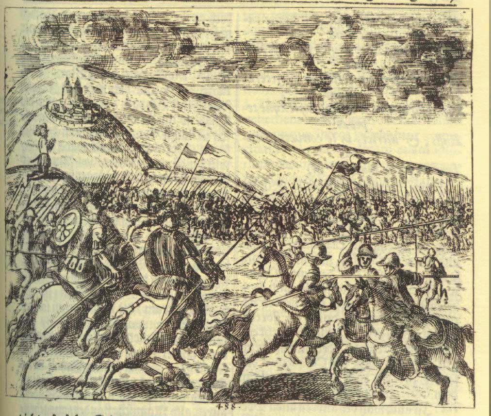 Битва в представлении гравера XVII века. <br>